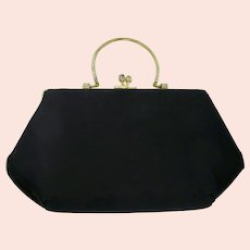 Black Evening Clutch Purse With Kiss Clasp