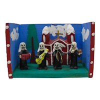 Mexican Day of The Dead Skeleton Musical Nuns Retablo