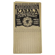 1946 Kabala Lucky Numbers Pamphlet