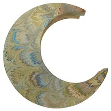 Crescent Moon Marbleized Paper Box From Il Papiro Firenze
