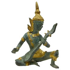 Thai Cast Bronze Statue of God Indra Playing Three-Stringed Lute (Small)