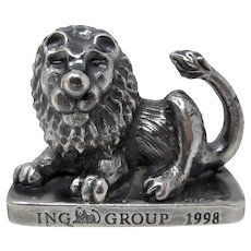 ING Group Promotional Pewter Lion Paperweight