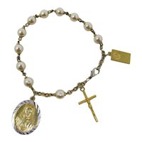 Rosary Bracelet With Crucifix, Christ & Mary Medallions