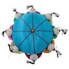 Chinese Children Rainbow Silk Pin Cushion