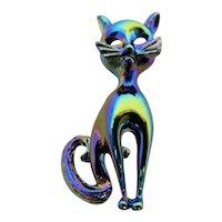 Iridescent Cat Brooch