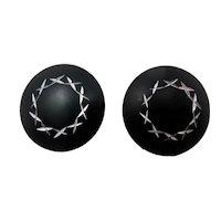 Black & Silver Button Earrings
