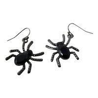Black Spider Dangle Earrings
