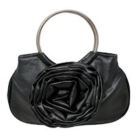 Black Faux Leather Rosette Mini Hobo Bag
