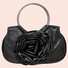 Black Faux Leather Rosette Mini Hobo Bag