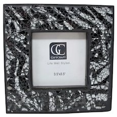 Black & White Mosaic Glass Standing Picture Frame