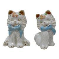 White Porcelain Kittens Salt & Pepper Shakers