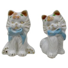 White Porcelain Kittens Salt & Pepper Shakers