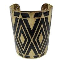 Large Black & Gold Cuff Bracelet