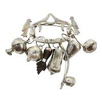 Penca de Balangandan 800 Silver Charm Brooch With Figa