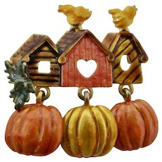 Kenneth Cole Autumn Pumpkins & Birdhouses Brooch