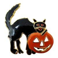 Black Cat & Jack O'Lantern Halloween Brooch
