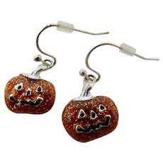 Halloween Glitter Jack O'Lantern Earrings