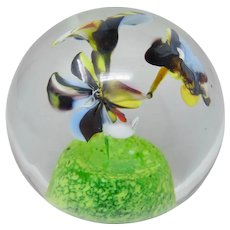 Karlov Svoboda Czech Art Glass Violets Paperweight