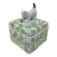 Andrea by Sadek Porcelain Trinket Box With Cat & Ball