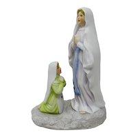 Our Lady of Lourdes & St. Bernadette Bisque Porcelain Figurines