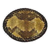 1970s Rattlesnake Skin & Leather Belt Buckle