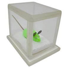 Green Mouse In Plexiglass Box Sculpture
