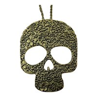 Antique Goldtone Floral Skull Necklace