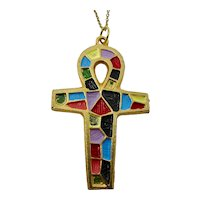 1970s Rainbow Ankh Necklace