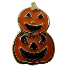 Orange & Black Halloween Jack O'Lantern Tie Tack