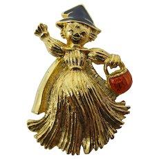 Halloween Scarecrow Girl Brooch