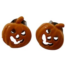 Tiny Orange Halloween Jack O'Lantern Earrings