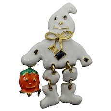 Articulated Halloween Trick-or-Treat Ghost Brooch