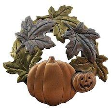 Autumn Leaves & Pumpkins Metallic Brooch