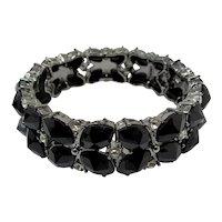 Black Jet Glass Stretch Bracelet