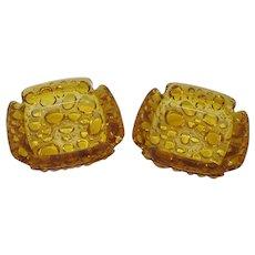 Amber Bubble Glass Ashtrays (Set of 2)