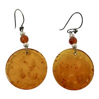 Amber Confetti Lucite Drop Earrings