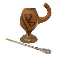 Chilean Yerba Maté Gourd Cup With Bombilla Straw