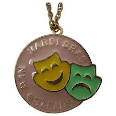 New Orleans Mardi Gras Masks Medallion Necklace