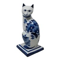 Blue & White Porcelain Cat Hand-Painted In Thailand