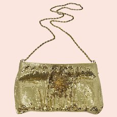 Whiting & Davis Gold Mesh Evening Bag With Shoulder Strap