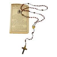 Celluloid & Shell Rosary With Antique Prayer Cards