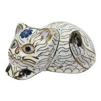 White & Gold Cloisonne Cat Figurine