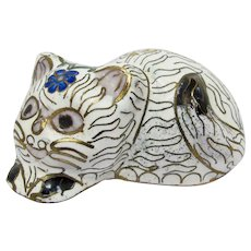 White & Gold Cloisonne Cat Figurine