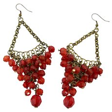 Red Glass & Chain Kuchi Earrings