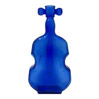 """Cobalt Blue Glass 8"""" Violin Bottle"""
