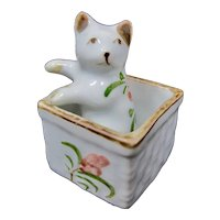 Tiny Porcelain Cat In Flowered Box Figurine