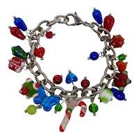 Glass Lampwork Christmas Charm Bracelet