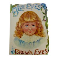 """Blue Eyes, Brown Eyes"" Victorian Children's Book Reproduction"