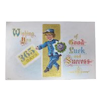 1911 Good Luck New Year Postcard With Message