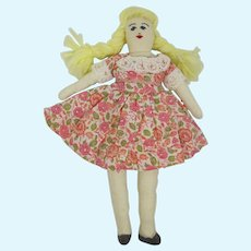 Handmade Girl Rag Doll In Pink Calico Dress